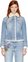 Alexander McQueen Blue Shearling Denim Jacket