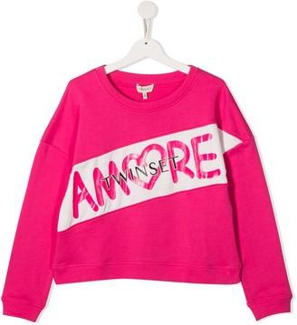 Twin-Set TEEN Amore crew neck sweatshirt