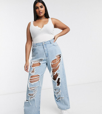 ASOS DESIGN Curve high rise 'relaxed' dad jeans with extreme rip in lightwash
