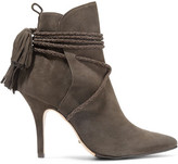 Schutz Fadhila Braided Tasseled Lace-Up Suede Ankle Boots