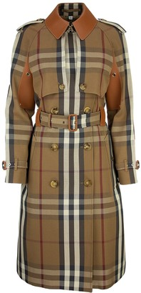 Burberry Leather Panel Check Technical Cotton Trench Coat Rainham