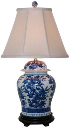 East Enterprises Inc Cleo Porcelain Table Lamp, Blue and White