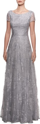 La Femme Sequin Floral Embroidered Gown