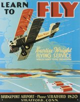 S-A Books Learn To Fly Bi Wing Airplane Tin Sign 13 x 16in