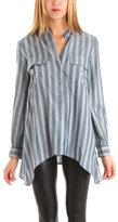 June Striped Blouse in Blue/Grey