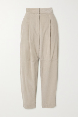 Brunello Cucinelli Pleated Cotton-corduroy Tapered Pants - Ecru