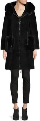 La Fiorentina Fox Fur Hooded Zip Coat