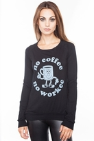 Local Celebrity No Coffee Kira Long Sleeve Top in Black