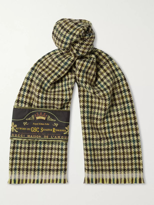Gucci Embellished Fringed Houndstooth Wool and Cashmere-Blend Scarf - Men - Yellow