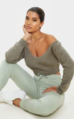 Mega Khaki V Neck Off Shoulder Soft Knitted Crop Jumper
