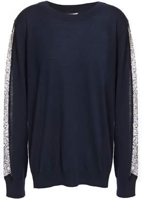 Nina Ricci Lace-trimmed Wool-blend Sweater