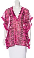 M Missoni Abstract Print Fringe-Trimmed Top