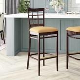 "Regal Beechwood Lattice Back Upholstered Seat Bar & Counter Stool Seat Height: Bar Stool (31"" Seat Height)"