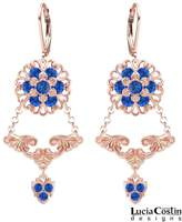 Lucia Costin Earrings Made of 24K Pink Gold Plated over .925 Sterling Silver Adorned with Fancy Pattern, Cute Middle Flowers, Swarovski Crystals and Lovely Charms; Handmade in USA