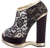 Dolce & Gabbana Lace Platform Ankle Boots