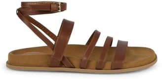 Aquatalia Ilise Strappy Leather Flat Sandals