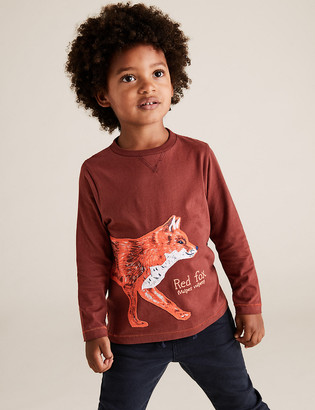 Marks and Spencer Cotton Fox Print Embroidered Top (2-7 Yrs)\n