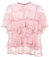 Elie Saab Ruffled Lace Top