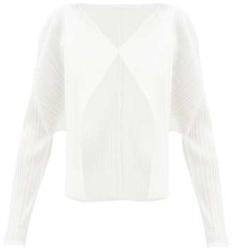Pleats Please Issey Miyake Technical-pleated Cardigan - White