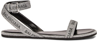 Balenciaga Round Sandals in Silver & Black | FWRD