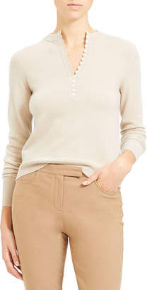 Theory Button Placket Cashmere Henley Top
