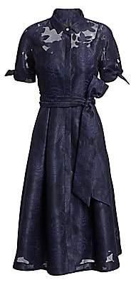 Teri Jon by Rickie Freeman Women's Collared Organza Burnout Jacquard Cocktail Dress