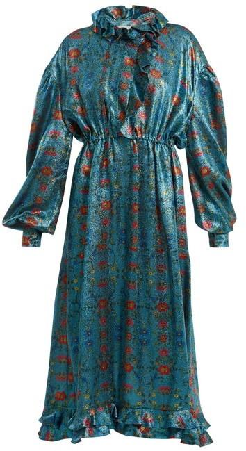 Preen by Thornton Bregazzi Linnet Floral Print Silk Blend Lame Midi Dress - Womens - Blue Multi