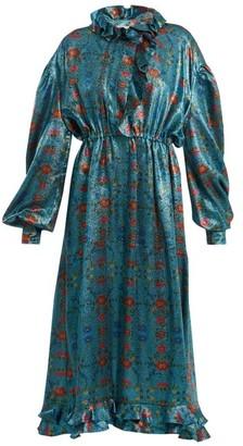 Preen by Thornton Bregazzi Linnet Floral-print Silk-blend Lame Midi Dress - Blue Multi