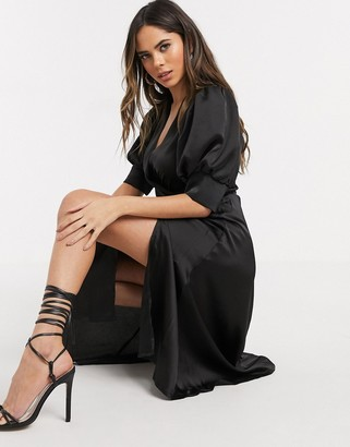 In The Style wrap front mini dress in black