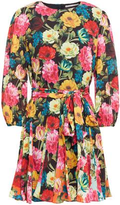 Alice + Olivia Mina Belted Floral-print Crepe Mini Dress