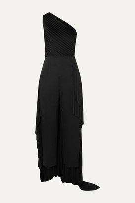 SOLACE London Winne One-shoulder Pleated Crepe Jumpsuit - Black