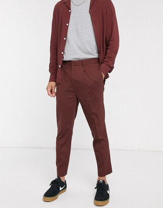 Asos DESIGN two-piece tapered crop smart pants in chocolate brown