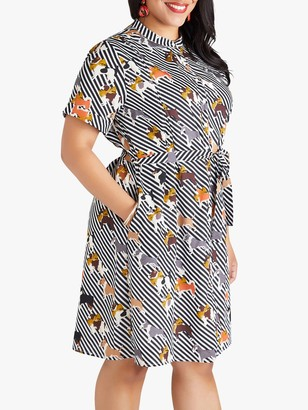 Yumi Curves Dog Print Shirt Dress, Multi