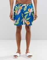 Asos Swim Shorts With Tropical Parrot Print In Mid Length