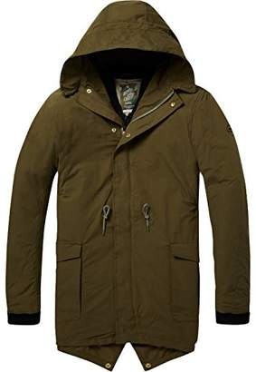 Scotch & Soda Men's AMS Blauw Double Layered Parka Jacket Military Green 0j, X-Large