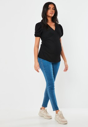 Missguided Black Milkmaid Maternity Top