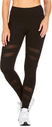 RAG Women's Active Pants Jet - Jet Black Double Mesh Stripe Leggings - Women & Plus