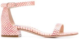 Stuart Weitzman Low Heel Printed Sandals