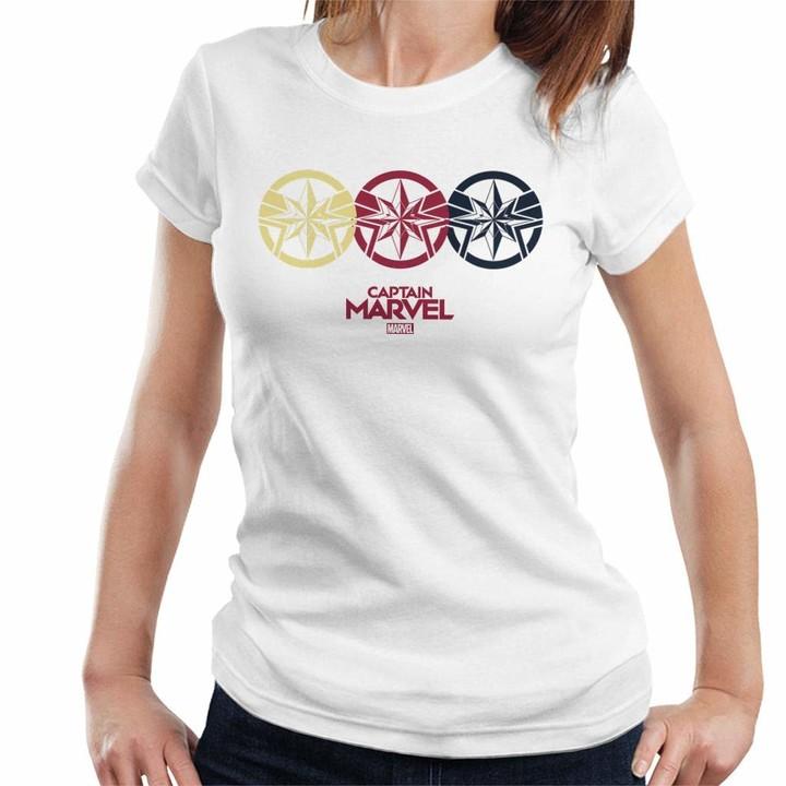 Marvel Captain Trio Stars Women's T-Shirt White