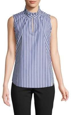 Isaac Mizrahi Imnyc Ruffle Collar Striped Blouse