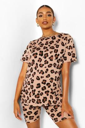 boohoo Maternity Leopard Rib Oversized Tshirt