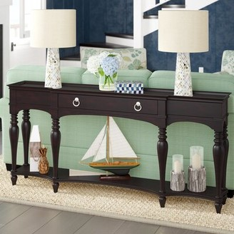 "Beachcrest Home Fountainbleau 72"" Solid Wood Console Table Color: Espresso"