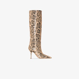 Paris Texas neutral Mama 95 snake print leather boots