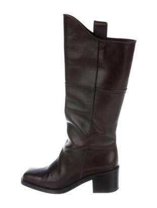 Chanel Interlocking CC Logo Leather Riding Boots Brown