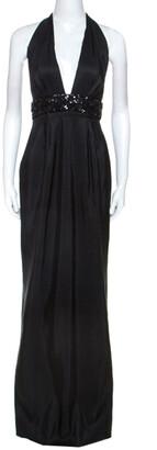 Marchesa Black Silk Embellished Waist Halterneck Evening Gown M