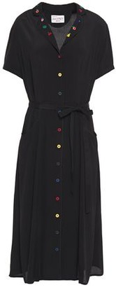 HVN Maria Belted Embroidered Crepe Shirt Dress