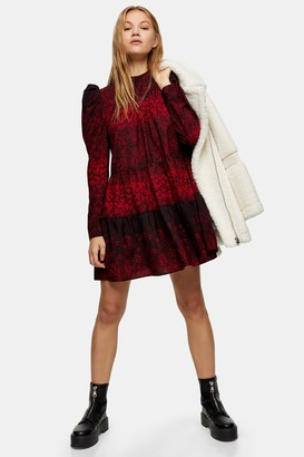 Topshop Red Tiered Mini Pintuck Dress