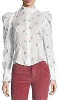 Isabel Marant Utah Rose-Embroidered Puff-Sleeve Blouse, White