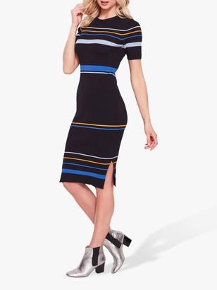 Sosandar Knitted Striped Knee Length Dress, Black