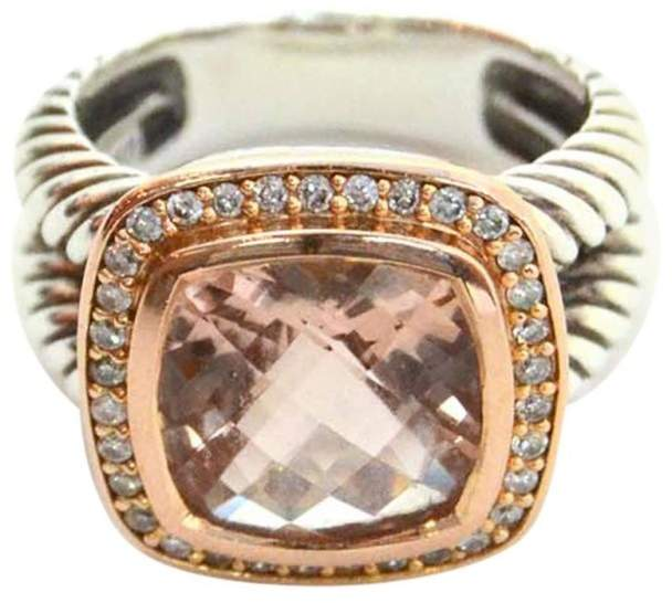 David Yurman 18K Rose Gold Albion Morganite and Diamond Ring Size 6.75
